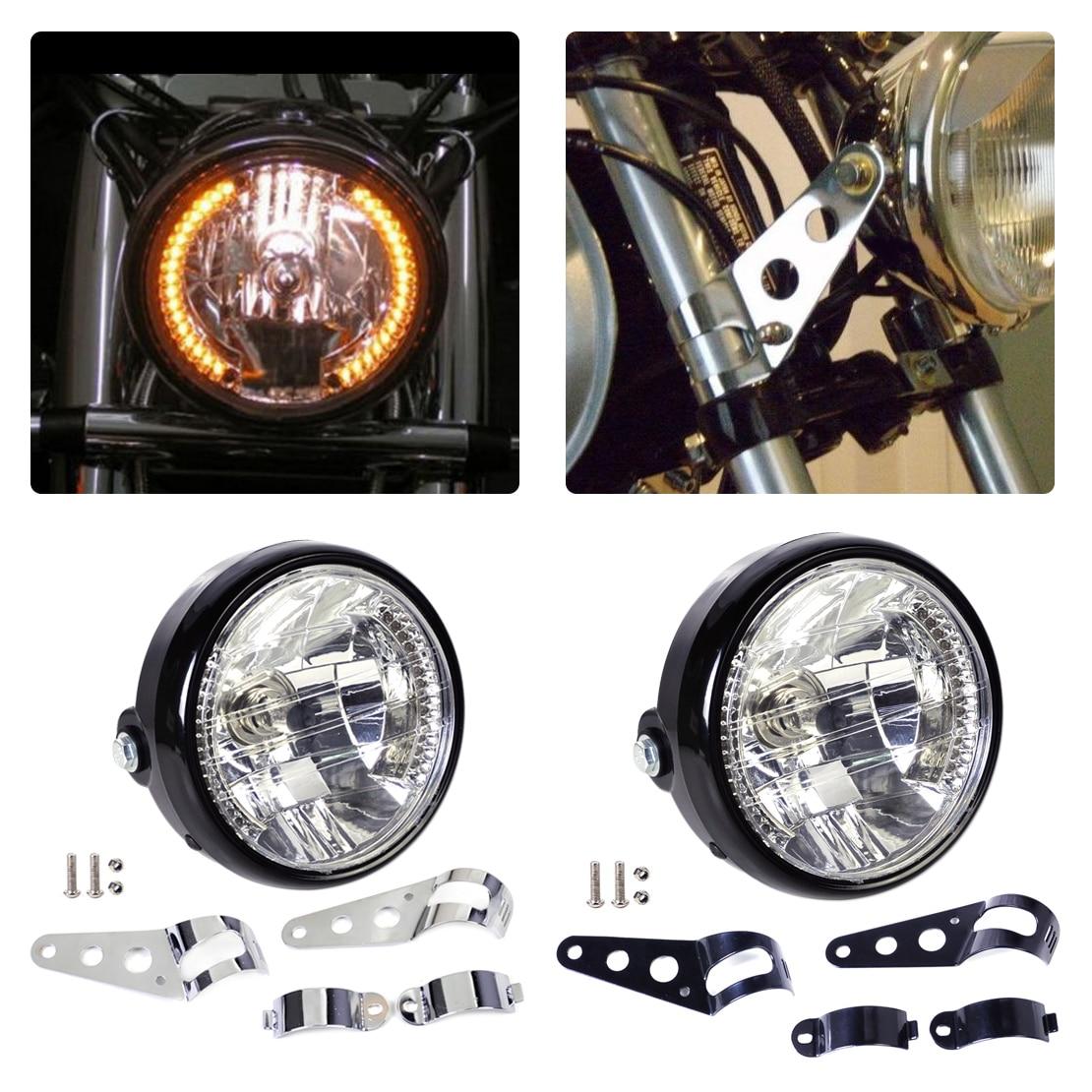 Citall 7 U0026quot  Clear Led Motorcycle Headlight Halogen Turn Signal Indicators Blinker   33 45mm