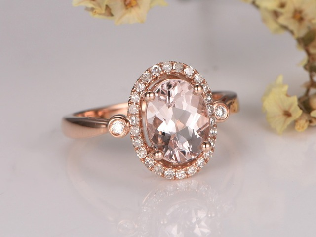 Myray Naturlichen Rosa Morganite 6x8mm Oval Edelstein Diamant