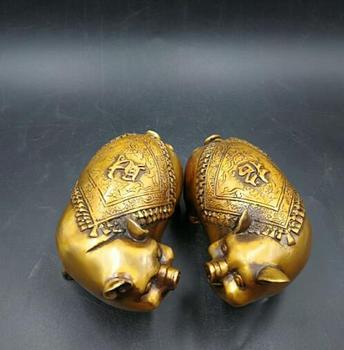 china  hand carved    copper  A rich pig      pure copper  sculpture  1 pairs