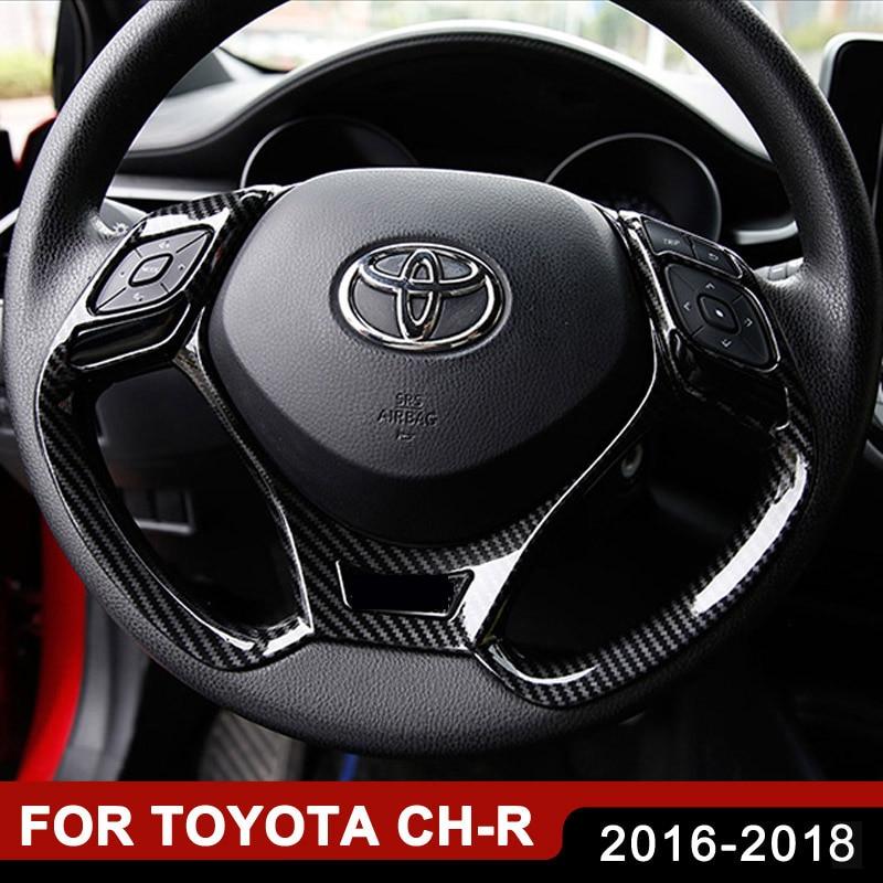 Autocollants de garniture de voiture couvre-volant pour Toyota C-HR CHR 2016 2017 2018 moulures intérieures paillettes autocollant accessoires Auto