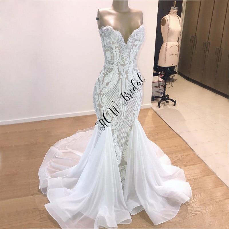 Newest Gorgeous Mermaid Arabic Wedding Dresses V Neck Unique Sequins Lace Floor Length Custom Made Bridal Dress Robe De Mairee