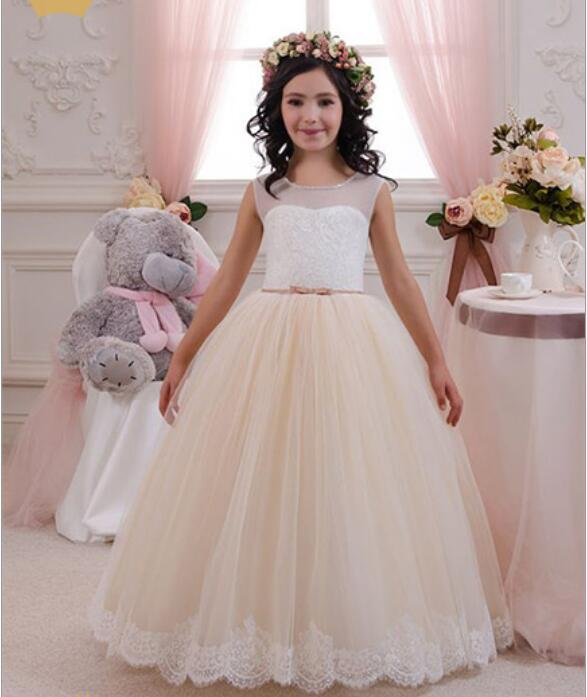 Illusion Neck Ivory White Lace Champagne Tulle Floor Length Wedding Flower Girl Dress Ball Gown 2018 First Communion GownIllusion Neck Ivory White Lace Champagne Tulle Floor Length Wedding Flower Girl Dress Ball Gown 2018 First Communion Gown