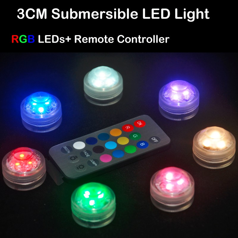 20pcs/Lot Super Bright 3LEDs RGB Multicolors Mini Submersible LED Lights With Remote Controller For Decoration