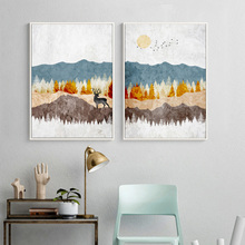 Mountain Forest Deer Abstract Landscape Nordic Posters And Prints Wall Art Canvas Painting Pictures For Living Room Decor