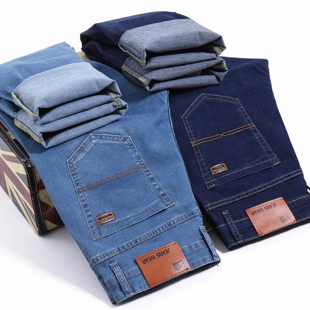Мужские джинсы Brother Wang, деловой Повседневный светильник, синие эластичные джинсы, модные джинсовые брюки, мужские Брендовые брюки