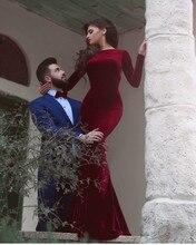 Robe De Soiree Long Sleeves Abendkleider Meerjungfrau Backless Velour Samt Arabische Abendkleider Burgund Formal Abendkleider