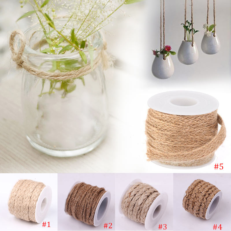 5M Natural Hessian Jute Twine Rope Burlap Ribbon DIY Craft Vintage Wedding Party Decor FP8