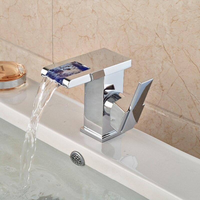ФОТО Modern Square LED Waterfall Chrome Brass Bathroom Faucet Vanity Sink Mixer Tap Single Handle Hole