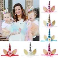 A-STYLE 24pc/lot Top Glitter Metallic Unicorn Headband Chiffon Flowers Headbands Kids Girls Unicorn Horn Party Hair Accessories