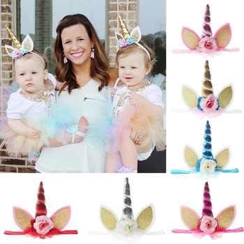 A-STYLE 24pc/lot Top Glitter Metallic Unicorn Headband Chiffon Flowers Headbands Kids Girls Unicorn Horn Party Hair Accessories - DISCOUNT ITEM  16 OFF All Category