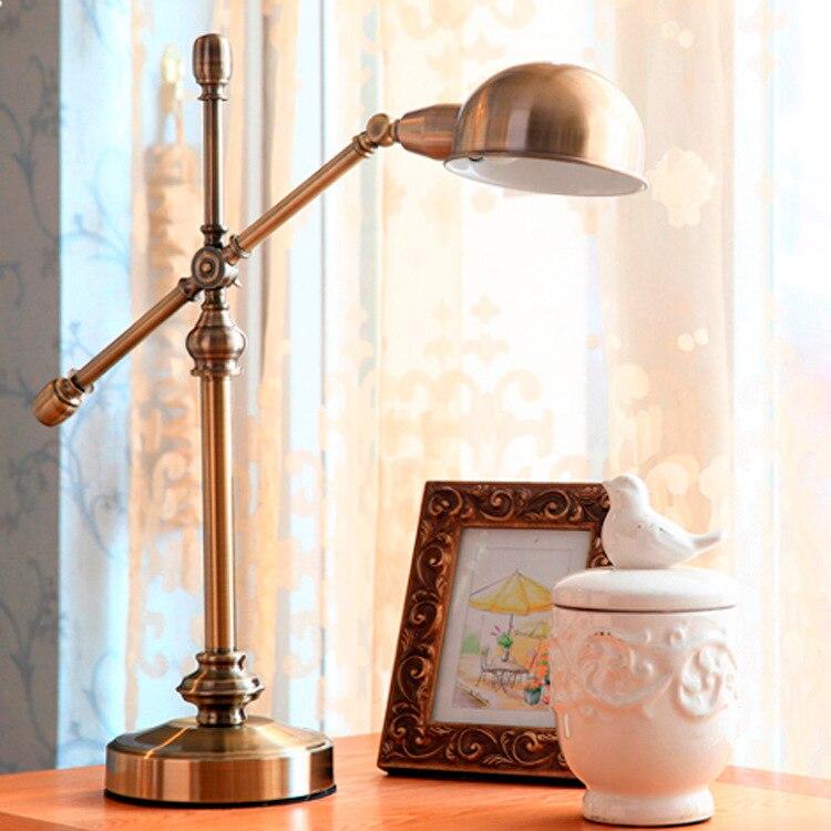 Американские классические модные гибкие светодиодные гладить бронзовая настольная лампа Американский дом меди меблировки Спальня исслед...