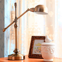American Classic Fashion flexible Led Iron Bronze table Lamp American Home copper Furnishing Bedroom Study Led Retro Lamp A119