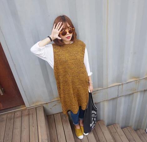 Otoño invierno las mujeres suéter sin mangas de punto chaleco largo raja del lado moda jerseys jerseys tire femme robe sueter mujer jersey