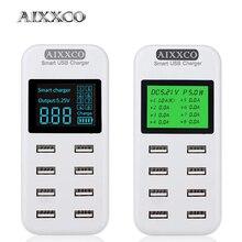 AIXXCO chargeur USB intelligent affichage LED 8 ports 40W charge rapide pour iPhone iPad Samsung Huawei Xiaomi téléphone portable