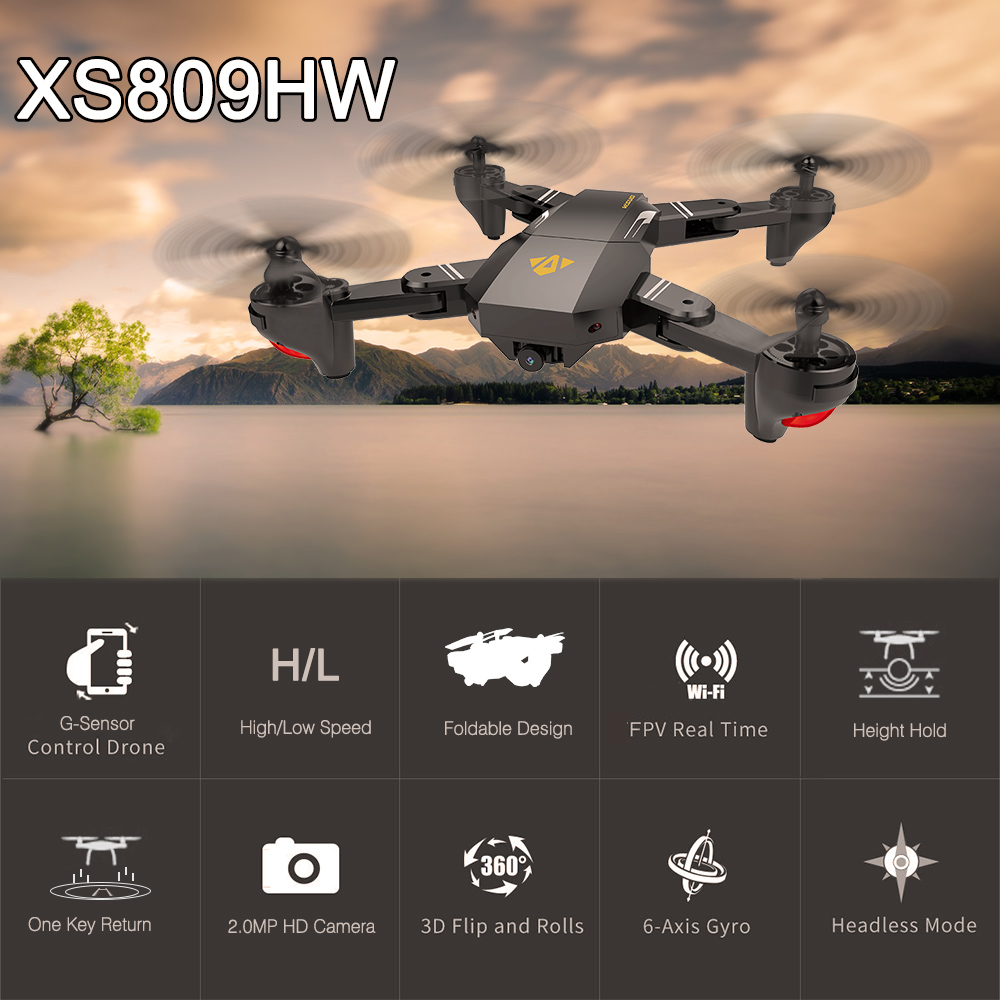 Selfless Visuo Rc Drone Xs809hw Rtf 2.4ghz Wifi Fpv Brushless Motor Drone With Camera 2.0mp 720p Wide Angle Selfie Foldable Rc Quadcopter Available In Various Designs And Specifications For Your Selection Rc Helicopters Remote Control Toys
