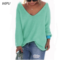 2017 Casual Ladies Jumpers Knitwear Sueter Mujer Autumn Winter Sweater Women V Neck Pullover Pull