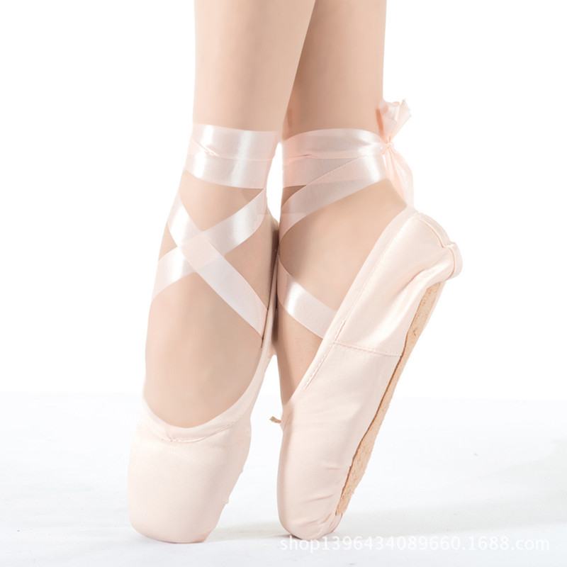 Women Hard Sole Ballet Shoes Lady Kids Girls Flat Pointe Dance Shoes Toe Cover