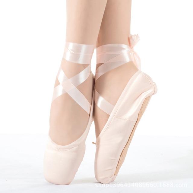 2018 High-end Satin Face Child Ballet Pointe Dance Shoes Girls Professional Ballet  Flats Graceful Ribbon Kids Hard Bottom Flats f44a796af56e