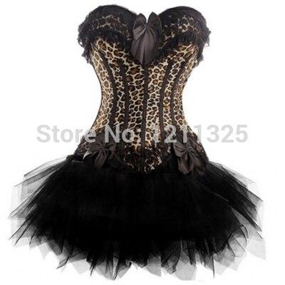 Free Shipping Women Sexy Party Corset Body Corset Dress Bustier Crop Top Showgirl Costume Burlesque Leopard Zipper Corset+skirt
