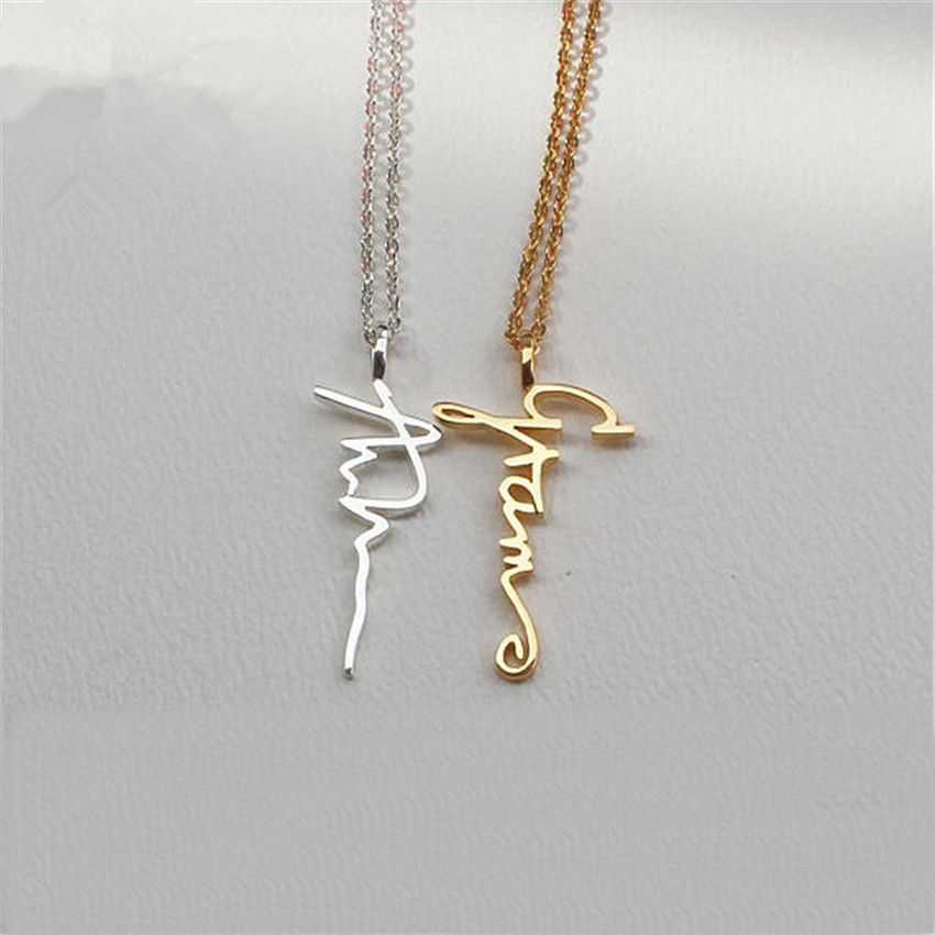 GORGEOUS TALE Gold Personalized Signature Necklaces Custom Jewelry For Women Gift Customized Vertical Name Pendant Necklaces