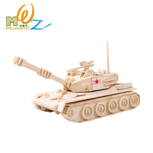 US $13 13 28% OFF|Children 3D Houses Puzzle Wood Kids Educational Game  Environmental Assemble Toy Model Military Tank Bridge Warship Assembling-in