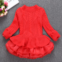 Infant Girl Dresses For Party 2018 Winter Sweater Kids Lace Dress For Girl Princess Girl Cotton
