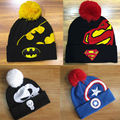 2016 Fashion Winter Hero Batman Superman Beanies Cap Knitted Hat For Women Men Casual Warm Skull Captain America Wool Knit Hats