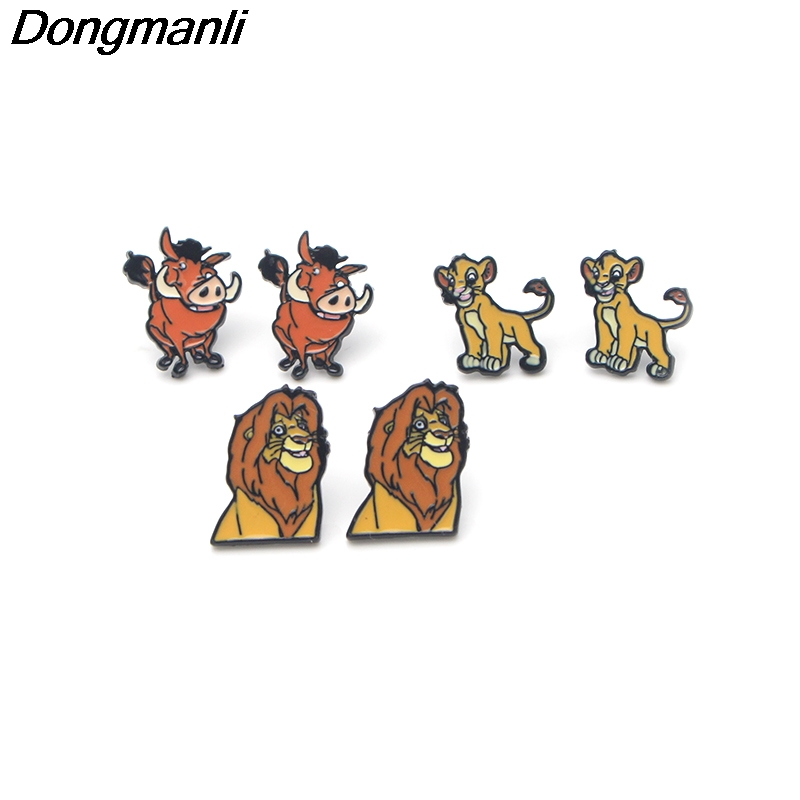 Us 299 P3095 Dongmanli The Lion King Stainless Steel Pierce Ear Stud Kids Cute Earrings For Womens Enamel Earrings Jewelry Gifts Girls In Stud