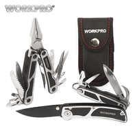 Kits de herramientas de supervivencia de WORKPRO 3PC Multi alicates multifunción cuchillo táctico Camping multiherramientas