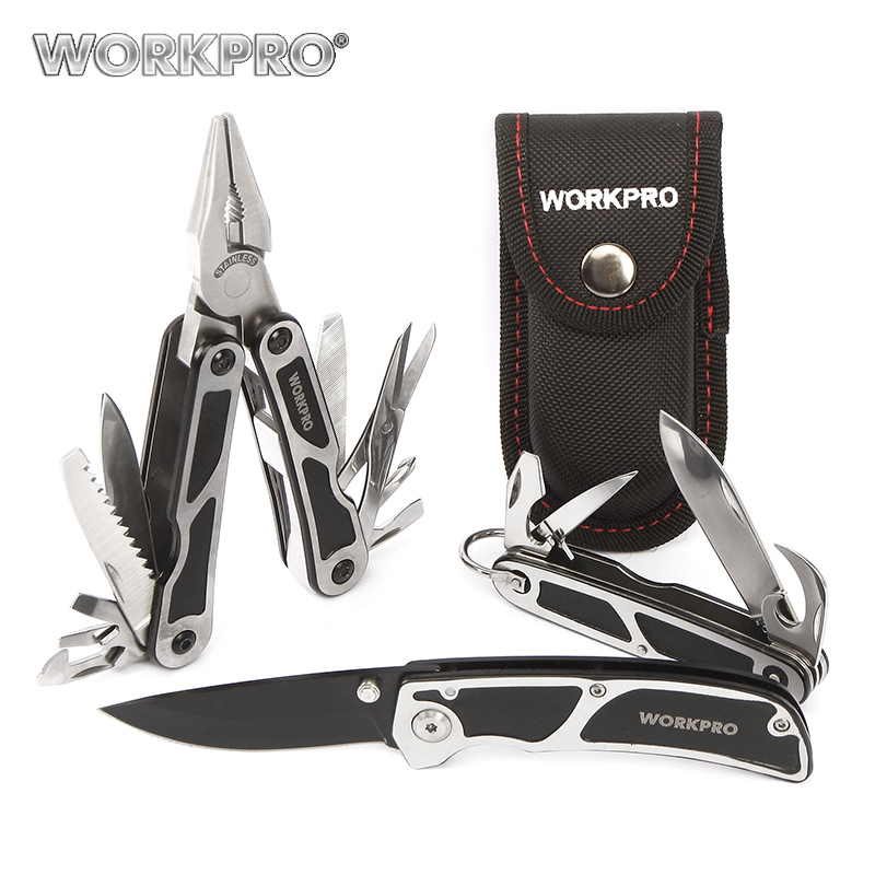 WORKPRO 3 Unid Camping herramienta Multi de los alicates cuchillo táctico Sierra abrebotellas tijeras destornillador Survival Tool Kits