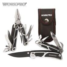 цена на WORKPRO 3PC Camping Tool Set Multi Pliers Tactical knife Saw Bottle Opener Scissor Screwdriver Survival Tool Kits