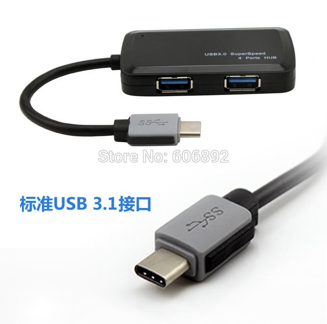 Frete Grátis USB 3.1 Tipo C para 3.0 Portas USB 4 hub usb para apple macbook para nokia ni letv le1 le POR