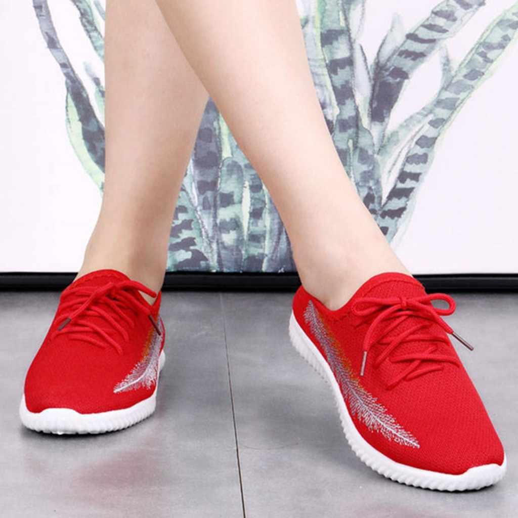 Zapatillas antideslizantes con cordones para mujer zapatos de plataforma cómodos de fondo suave de malla de aire transpirable zapatillas ligeras para mujer # x2