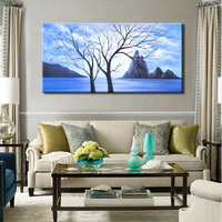 100% Hand Painted Abstract Wall Decoration Oil Painting Wall Art Posters Trees Landscape Pictures for Living Room Wall Frameless