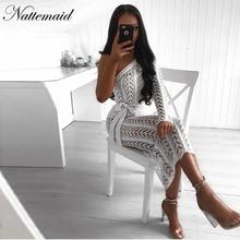 NATTEMAID Split Black White One Shoulder Dress Summer 2018 Casual Sexy Club Hollow Out Dress Women Vintage Elegant Vestidos