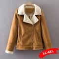 Plus Size Zipper Basic Suede Lambswool Short Jacket Coat Winter Warm Hairly Collar Jacket Women Belt Female Overcoat 3Xl 4Xl 2Xl