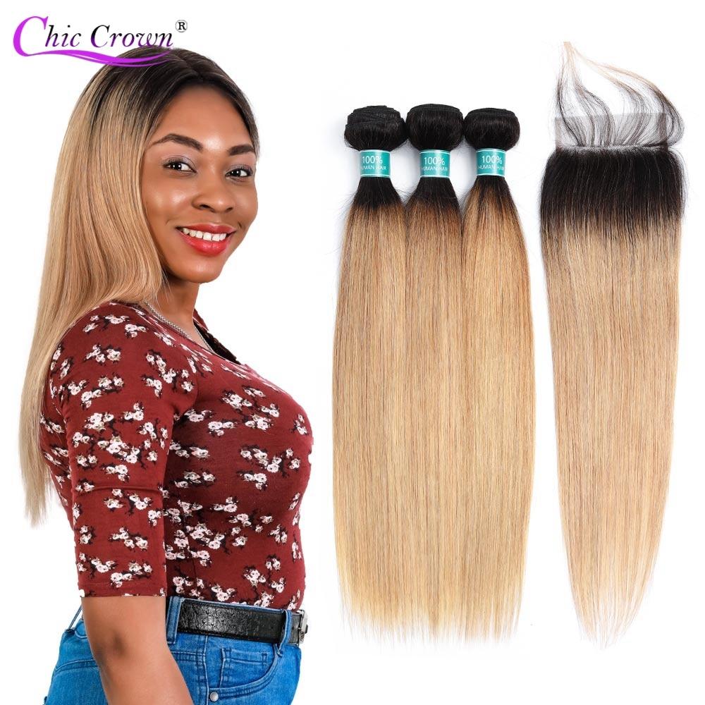 Ombre Bundles With Closure Brazilian Straight Hair T1B 27 Black To Blonde Hair Weave 3 Bundles