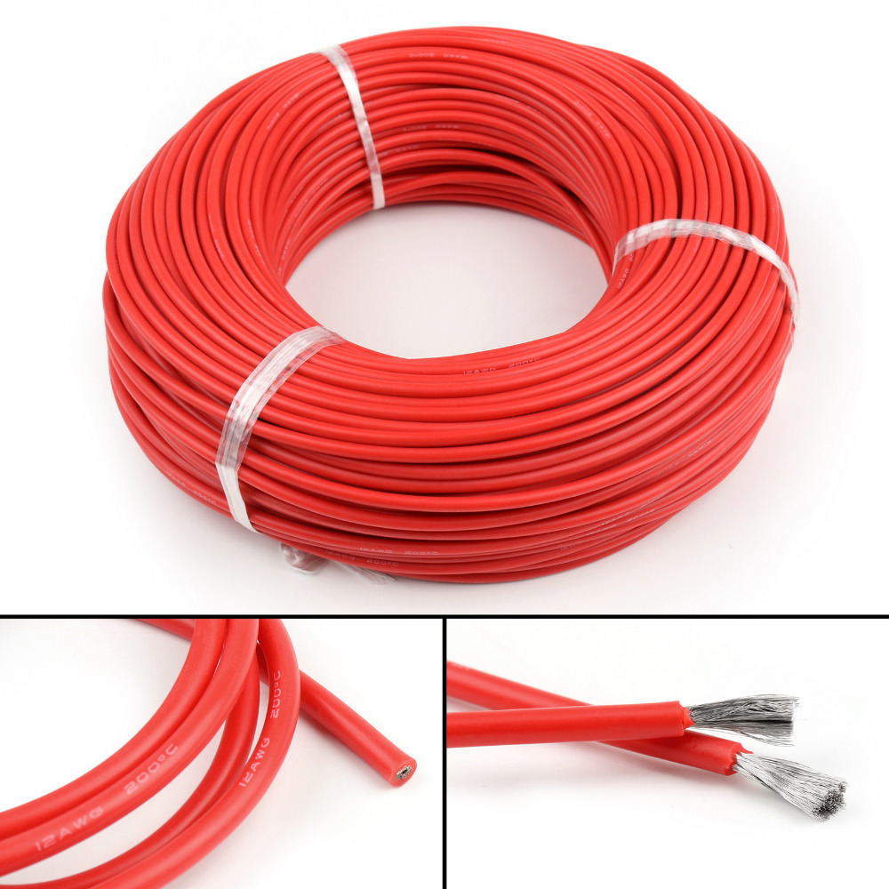 Areyourshop 1m 5m Wires Flexible Stranded Silicone Rubber Wire Cable Wiring Your Shop I003 A026 Red Set