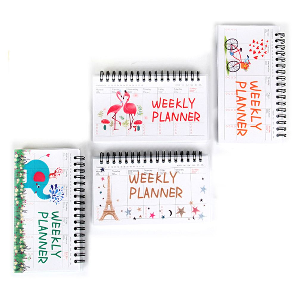Cartoon Flamingo Elephant Weekly Daily Planner Notebook Agenda Organizer Stationery School Office