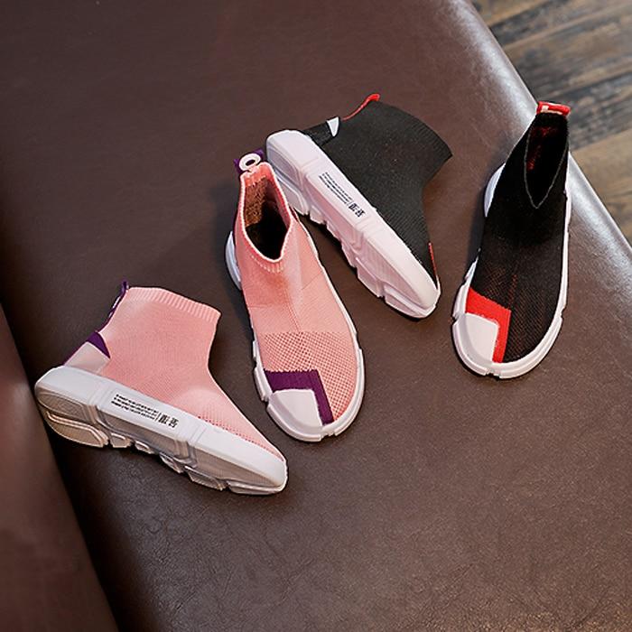 Mudibear Kids Sneakers Girls Shoes 2018 Boys High Top Socks Sport Shoes Children Knit Breathable Running Sneakers School Casual
