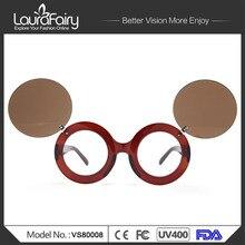 Laura de Hadas Fresco de La Manera Steampunk Doble Flip gafas de Sol de Las Mujeres UV400 Diseñador de la Marca Linda Ronda gafas de Sol Gafas De Sol Hombre