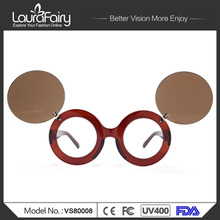 Laura Fairy font b Fashion b font Cool Steampunk Double Flip Sunglasses font b Women b