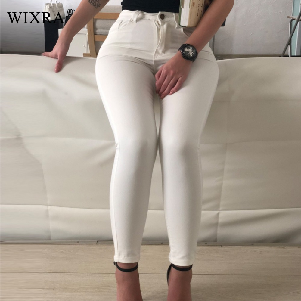 WIXRA Basic Jeans Women Fashion Pencil Jeans Casual Denim