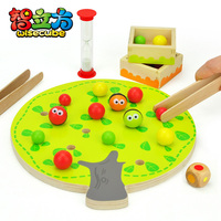 candice guo Funny educational wooden toy montessori colorful fruit tree clip balls hand eye coordination toy
