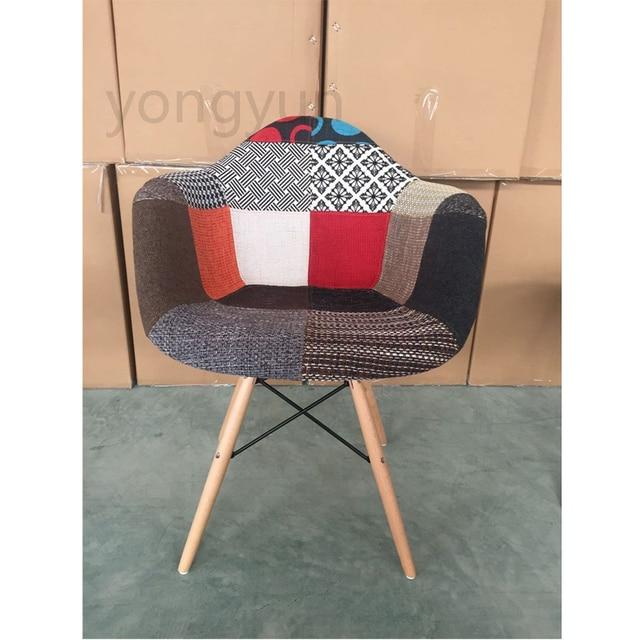 Minimaliste Moderne Salon Loisirs Chaise Rembourree Fauteuil Patchwork Tissu Couverture Souple Rembourre En Plastique Et