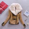 2016 Casaco de lã das mulheres Casaco de inverno de moda Plus Size de lã gola de pele Zipper Up Pockets magro Parka casacos Casaco Femininos