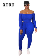 XURU new fashion spring jumpsuit two-piece long-sleeved caliper sexy knit womens overalls