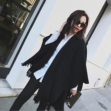 Kadın kış kaşmir panço pelerin zarif siyah sıcak atkılar moda Vintage Pashmina uzun şal kadın panço pelerin