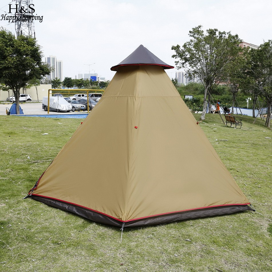Ancheer New c&ing tent Oxford 7 8 Person Pyramid Tent Waterproof Tent Groundsheet with Shade Sail Hiking C&ing-in Tents from Sports u0026 Entertainment on ... & Ancheer New camping tent Oxford 7 8 Person Pyramid Tent Waterproof ...