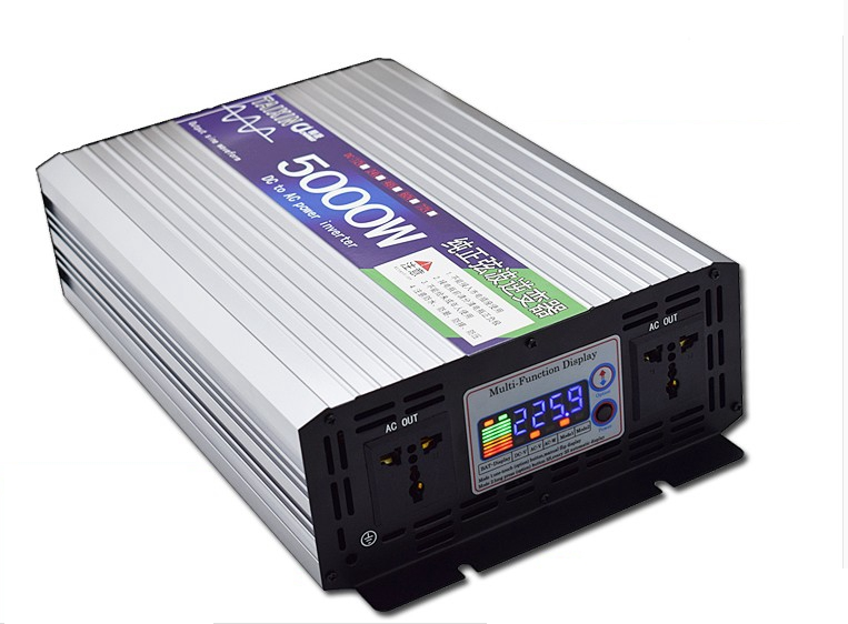 цена на Peak Power 5000W Pure Sine Wave Inverter DC 12V/24V to AC 110V 60HZ Power Inverter with Multi-function LCD Display Large Power